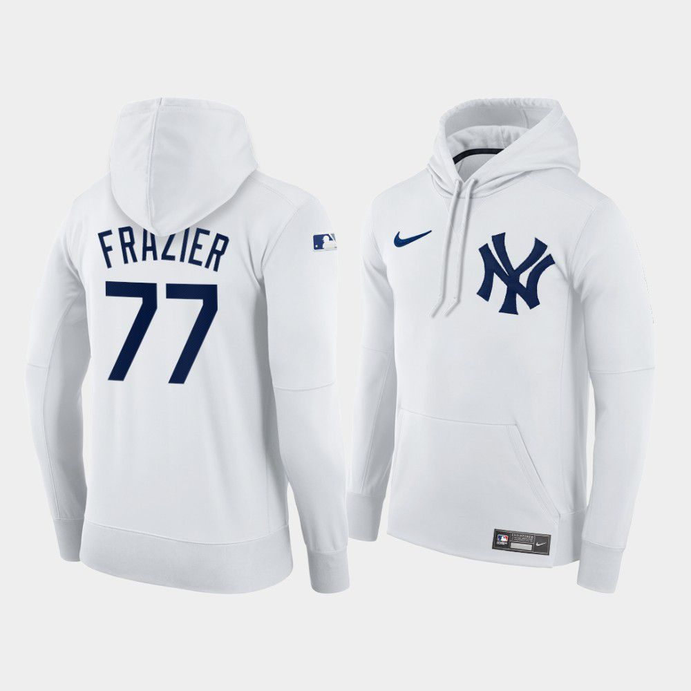 Cheap Men New York Yankees 77 Frazier white home hoodie 2021 MLB Nike Jerseys